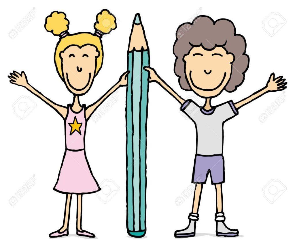 19177633-enfants-de-dessin-garçon-et-fille-tenant-le-grand-crayon-